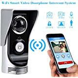 KKmoon Interfono Intercomunicador Wifi Inalámbrico Video 0.3MP Timbre Impermeable Visión Nocturna Compatible con Smartphone iOS Android