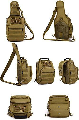 Imagen de huntvp  táctical  de hombro  de bandolera  de pecho estilo militar bolso de múltiple función  ejércita bolso impermeable para correr, senderismo, ciclismo,camping, caza, etc, color marrón alternativa