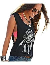Ba Zha Hei   Damen Traumfänger Drucken Weste Printed Ärmellose Tops Crop  Tank Weste Shirt Tee Ärmellos Schulterfrei Tank Bluse Tops… 597c09d6d7
