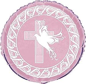 Partido Ênico de 18 pulgadas Foil Paloma Cruz bautizo globo (rosa)