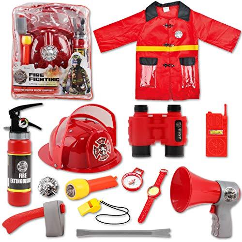 Feuerlöscher Kostüm Der - deAO Waschbares Feuerwehrmann-Kostüm-Set mit 13 Feuerwehrspielzeug-Accessoires, Aufbewahrungsrucksack und echtem Wasser-Feuerlöscher - ideal für Kinder