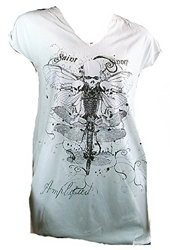 Amplificato Donna Lady T-Shirt Off White bianco Saint Sinner Designer Tunika Gothic Skull Butterfly foreverde martello Rock Star dell'abito long Shirt ViP Rock Star bianco 42