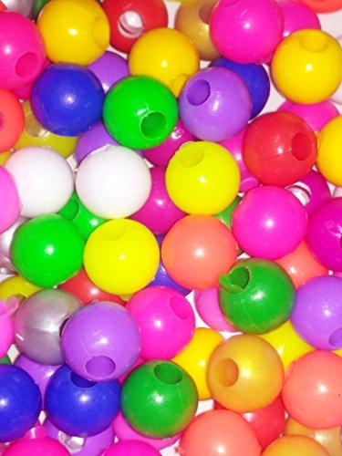 Anshartandcraft Plastic Beads Round : 100g Pack (Plastic Beads Multi 18mm)
