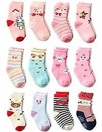 Wobon Calcetines Gruesos del Algodón de la Niña Pequeña de 12 Pares, Calcetines del Deslizador de las Niñas Calcetines Antideslizantes con Apretones