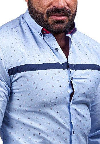 BOLF Langarm Herrenhemd Hemd Figurbetont Freizeit Classic Herren Hemd Fit 6903 Blau
