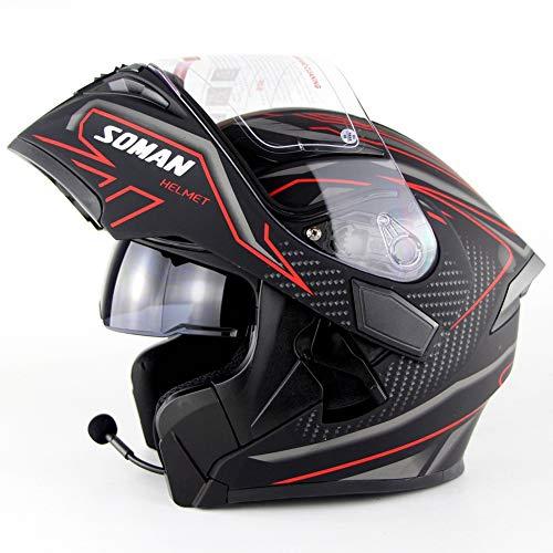 DBY Boy Motorrad Bluetooth Helm Modularer Helm mit herausnehmbarem Komfortfutter DOT-Zertifiziert für Erwachsene Mann Frauen Mattschwarz Rot 55-64CM,M(57~58cm)