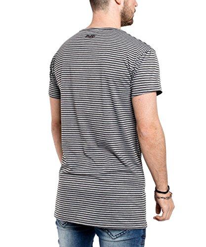 Phoenix Oversize Gestreiftes T-Shirt Herren Longshirt Grau