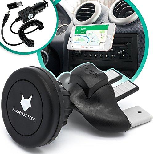 Mobilefox Magnet CD Schlitz KFZ Handy Halterung + Micro-USB Ladekabel Zigarettenanzünder + Micro-USB Adapter Type C 3in1 Set für Huawei P20/Pro/P10/P9/Plus/Lite Auto Halter
