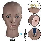 Tête de mannequin Afro Cosmétologie chauve Tête de mannequin pour la création de perruques Perruque Chapeau Lunettes Affichage de l'écran d'affichage avec gratuit Clamp