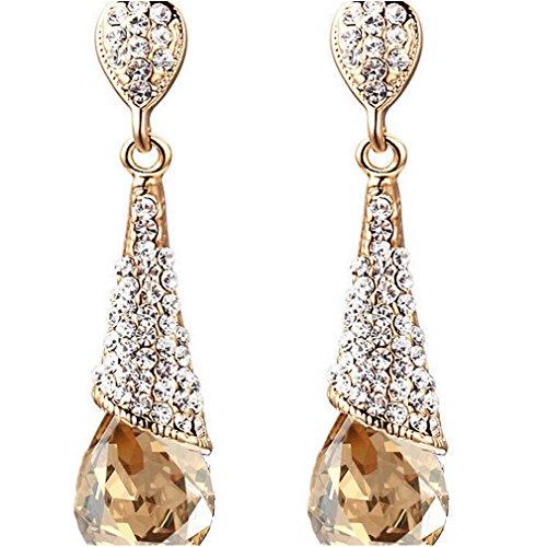 YAZILIND Gold 18K überzogen Frauen-Mode-Riss-Tropfen Champagner Zirkonia Strass Dangel Ohrringe Geschenk