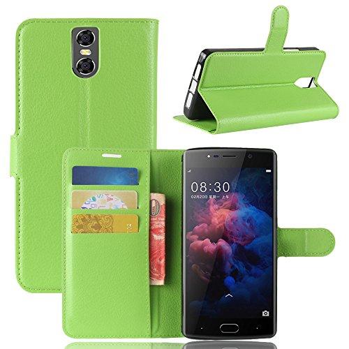 GOGME DOOGEE BL7000 Hülle, Premium PU Leder Flip Tasche Case mit Integrierten Kartensteckplätzen und Ständer Schutzhülle für DOOGEE BL7000, Grün