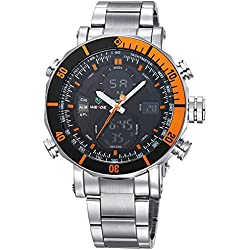 Alienwork DualTime Analogue-Digital Watch Chronograph LCD Wristwatch Multi-function Metal black silver OS.WH-5203G-06