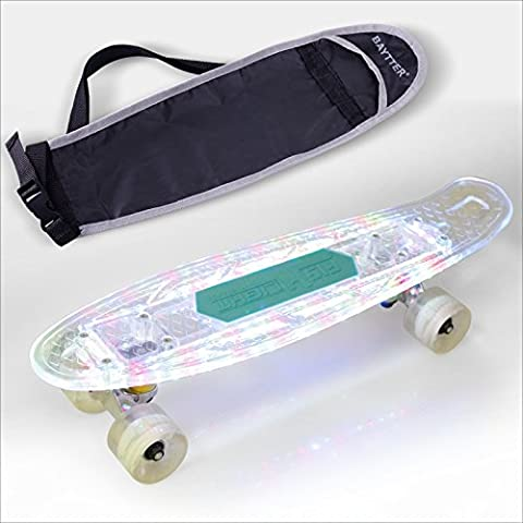 BAYTTER Mini Cruiser Skateboard Funboard Komplett Board Bluetooth Lautsprecher mit LED Deck und Leuchtrollen UBS Ladung, 95A Rollenhärte, 85A PU Rädern und ABEC-5 Kugellager