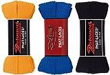 2Stoned Bundle Original Phat Laces, flache breite Schnürsenkel Orange-Royal-Schwarz