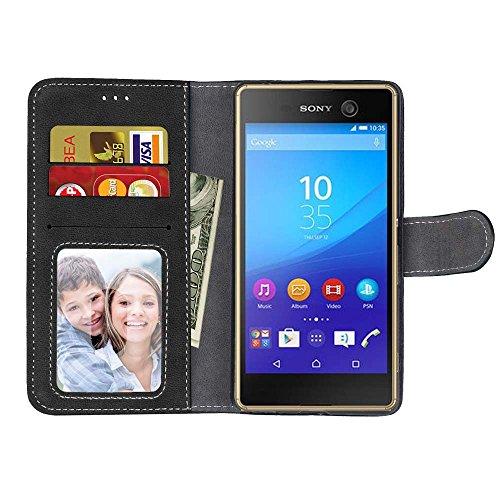 Solid Color PU-Leder Tasche horizontal matt Retro Flip-Stand Case Wallet Fall weichen Silikon-Abdeckung mit Karte Cash Slots Foto Frame für Sony Xperia M5 E5603 E5606 E5653 ( Color : 3 , Size : Sony X 1