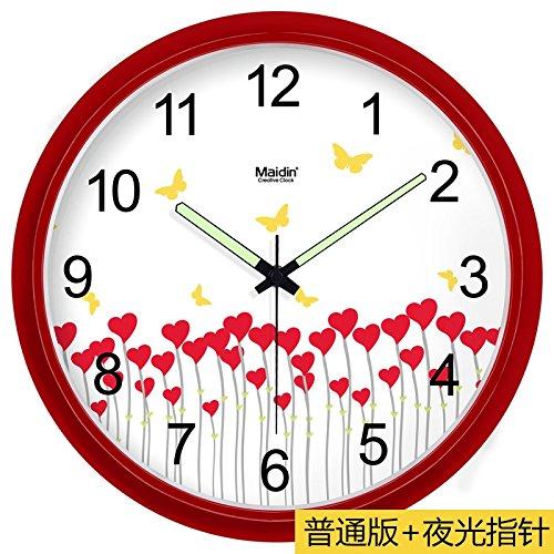 Komo classico ed elegante il quarzo orologio da parete grande silenzioso sweep mute creative orologio da parete moderna arte minimalista soggiorno orologio al quarzo, 13 pollici, perno rosso