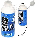Unbekannt Trinkflasche / Sportflasche - auslaufsicher -  Fußball - Sport  - incl. Name - Kohlensäure geeignet - Flasche 550 ml - leicht transparent - aus Kunststoff -..