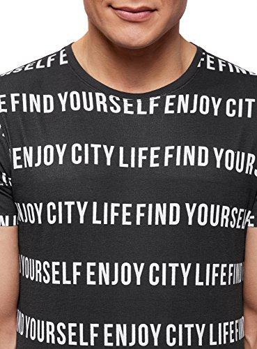 oodji Ultra Herren Gerades T-Shirt mit Gestreiften Schriftzügen Schwarz (2910P)