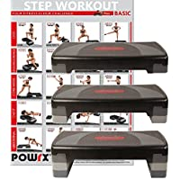 POWRX - Escalón Home Aerobic XL PREMIUM Incluye Entrenamiento Fitness Step Stepper 3 niveles Regulable
