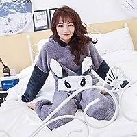 YTNGA Pijamas De Mujer Conjuntos de Pijamas TopsRopa de Dormir de Manga Larga deinvierno Paramujer de Pantalones Largos Ropa de Dormir Ropa para Mujer, Conjuntos de Pijamas Grises, XL