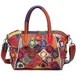 Greeniris Damen Handtaschen Leder Vintage Bunt Plaid Umhängetasche Hobo Blumen Schultertasche Totes für Damen Mehrfarbig