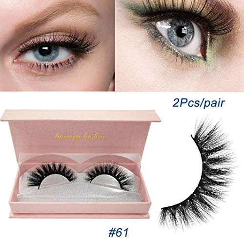 2689b5c1256 Pinmaoo Fake Eyelashes, Black Natural Long Crisscross Lashes Handmade False  Eyelashes 3D Fur Eye Lashes