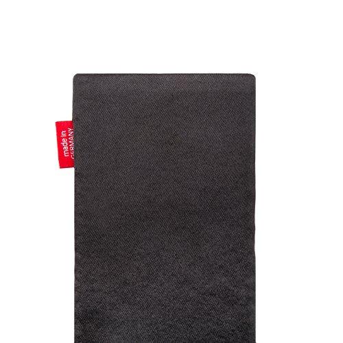 fitBAG Rave Noir housse pochette pour téléphone portable en tissu intérieur en microfibres pour Apple iPhone 6 / 6S / 7 avec Apple Silicon Case Techno Noir