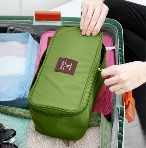 BlueTop Fashion Portable Collecting Make-Up Bag Organizer Cosmetic Travel Cases Bag Protect Underwear Bra Pouch Lingerie Case (green) by BlueTop