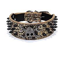 Peting PU Leather 3 Righe pallottola rivetta la pelle borchiata Cool Skull per Medio Grande collare di cane dell'animale domestico