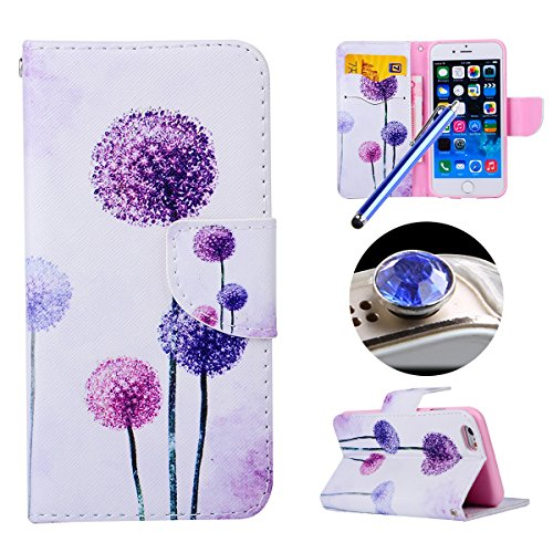 Etche iPhone 6/6S 4.7 pouces Coque,Ultra Slim Mince Flip PU Cuir Housse Etui coque pour iPhone 6/6S 4.7 pouces,Colorful pissenlit pétales de fleurs Arbre Feather Etui de Protection Case Portefeuille C pissenlit violet