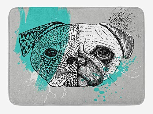 PdGAmats Pug Bath Mat, Hand Drawn Head of a Dog Blue Splashed Backdrop Two Different Halves of a Whole 23.6 W X 15.7W Inches -