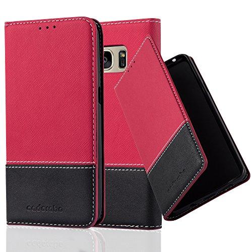 Preisvergleich Produktbild Cadorabo Hülle für Samsung Galaxy S7 - Hülle in ROT SCHWARZ – Handyhülle mit Standfunktion und Kartenfach aus Einer Kunstlederkombi - Case Cover Schutzhülle Etui Tasche Book