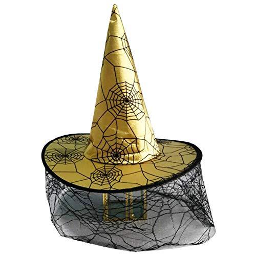 Rowentauk Halloween Hexenhut mit Spinnennetz, Kinder Cosplay Cap Magic Hat Erwachsene Kinder Hut für ()