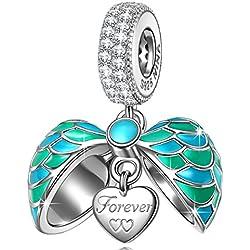 NINAQUEEN Charms Encaja con Pandora Joyas para Mujer Pulsera Amor Corazón Colgante Plata de Ley 925 Esmalte Abalorios Regalos Originales para Mujer niñas Madre Hija Esposa de cumpleaños