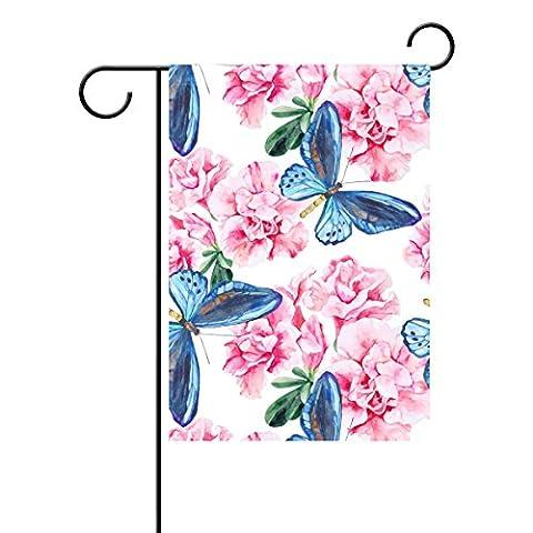 Duble Face aquarelle Rose azalée et papillon bleu Polyester Maison Jardin Drapeau Bannière 12x 18/71,1x 101,6cm pour fête de mariage tous les temps, Polyester, multicolore, 28x40