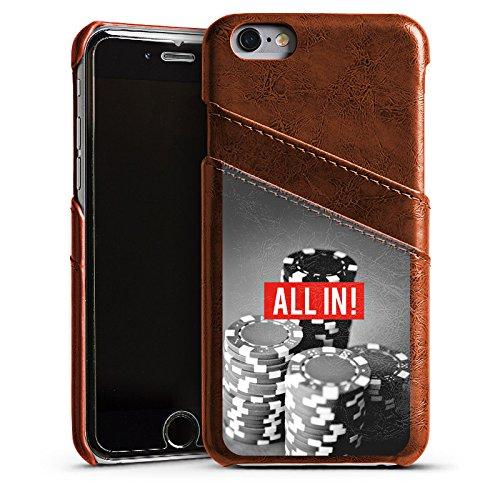 DeinDesign Apple iPhone 6s Lederhülle Maroon Leder Case Leder Handyhülle All In Poker Chips -