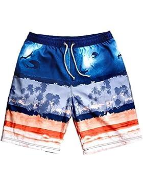 OME&QIUMEI Pantalones Sueltos De Secado Rápido Spa Playa Pantalones Cortos Boxer Masculino Beach Surf Troncos...