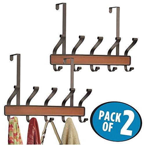 mDesign 2er-Set Garderobe aus Metall – praktische Flurgarderobe mit insgesamt jeweils 10 Haken für Jacken, Handtücher, Taschen, etc. – stilvolle Garderobenhaken für über die Tür hängen – bronze/braun