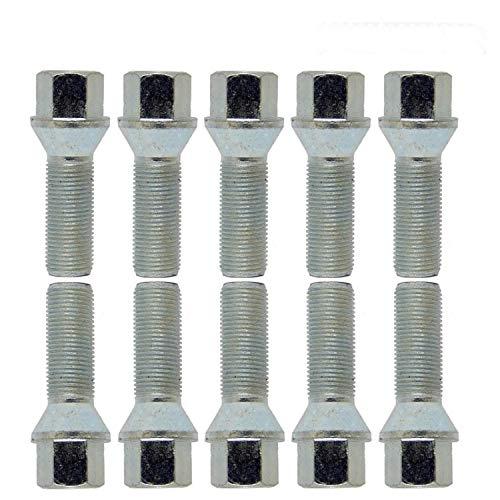 Argent Haskyy 10 Boulons de Argent Zingu/é Conique C/ône M14x1,5 en Diff/érentes Longueur de Tube au Choix 40mm