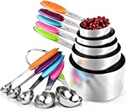 10 Pics Measuring Cups and Spoons Set in Stainless Steel Cooking and Baking