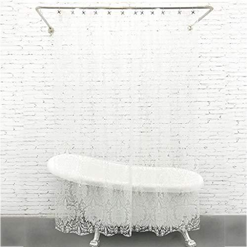 CHL Blanc Résistant à la Moisissure de Rideaux de Douche Lavable Impression Blanche Eva Imperméable Épaississement Moisissure Salle de Bains Transparente, 180 * 220CM.
