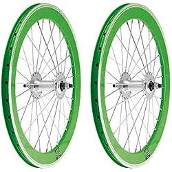 "2x Llanta Rueda para Bicicleta BMX GRAZIELLA de 20"" Fixed Aluminio con Piñon Fijo Color VERDE 3749"