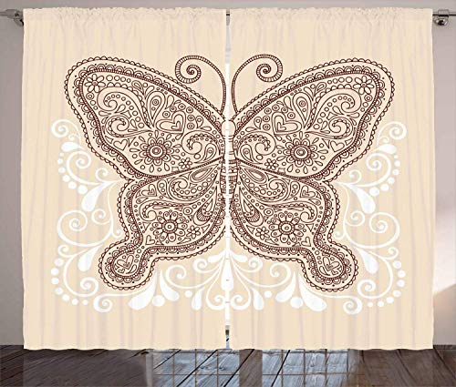 Henna Curtains, Hand Drawn Abstract Butterfly Various Design Elements Flowers Hearts, Living Room Bedroom Window Drapes 2 Panel Set,Ivory Chesnut Brown White 110x90 in
