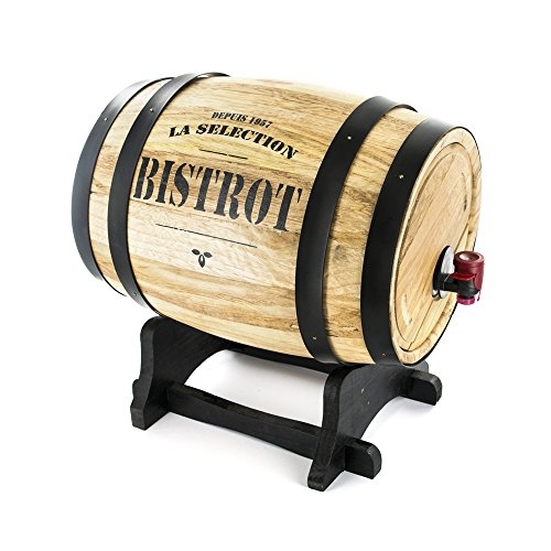 Bistrot kv7166 Dispenser a vino botte legno, 27 x 21,5 x 27,5 cm 3 L, Colori Assortiti