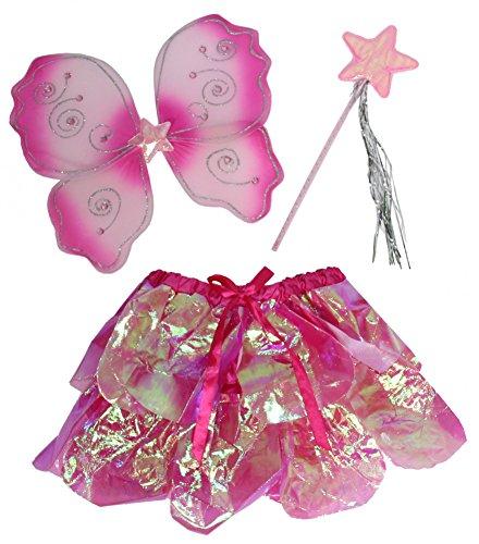 Foxxeo 35297 | Schmetterling Fee Kostüm Set für Mädchen | Flügel, Tutu und Feenstab | Mädchenkostüm Rock rosa pink Fasching Tierkostüm Feenstab Zeptzer Märchen