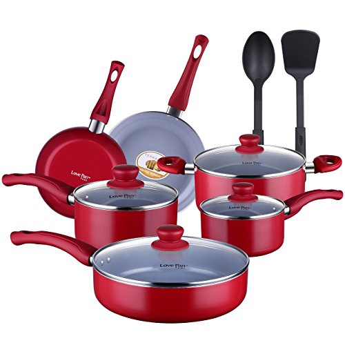 Lovepan Peas Pots and Pans Set, Grey Ceramic Coating Nonstick Aluminum Cookware Set with Glass Lids and Nylon Utensils, Dishwasher Safe PTFE, PFOA Free, 12-Piece, Red