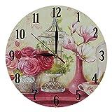 Decorazione Shabby Chic Orologio Da Parete Stile Vintage Modello Rose e Magnolie, in MDF - 28 cm