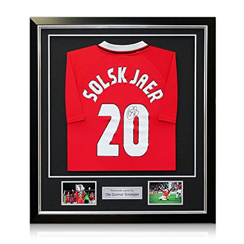Ole Gunnar Solskjaer Signed 1999 Manchester United Champions League Shirt. In Deluxe Black Frame With Silver Inlay