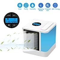 KOBWA LCD Display Personal Space Air Cooler, 5 in 1 Portable Mini Air Cooler, Humidifier & Purifier with 7 Colors Adjustable LED Lights, 5 Fan Speeds Portable Air Conditioner for Office and Bedroom