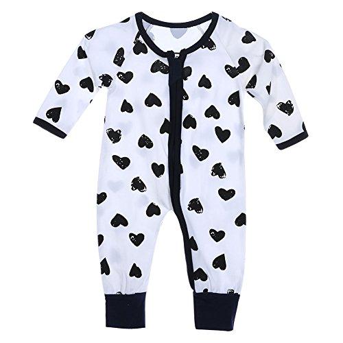 Boy Girl Newborn Heart-shaped Print Long Sleeve Pants Jumpsuit (70)